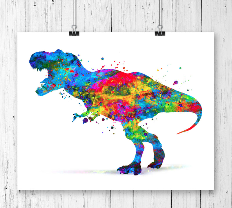 T-Rex Dinosaur Watercolor Art Print - Unframed - Zuzi's