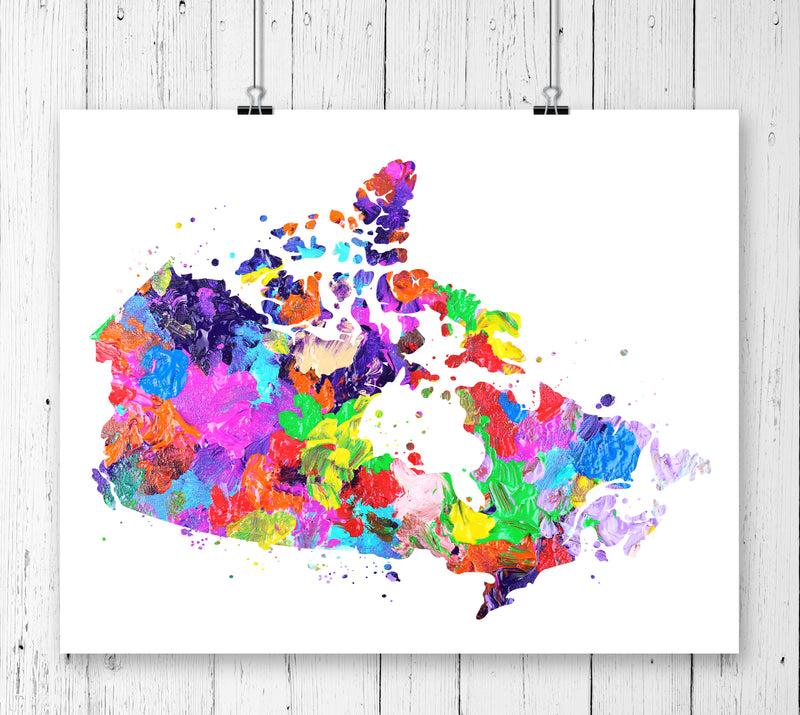 Canada Map Art Print - Unframed - Zuzi's