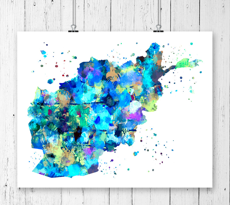 Afghanistan Map Art Print - Unframed - Zuzi's