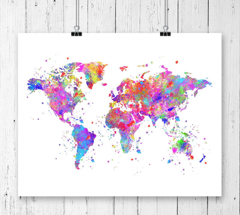 World Map Watercolor Art Print - Unframed - Zuzi's