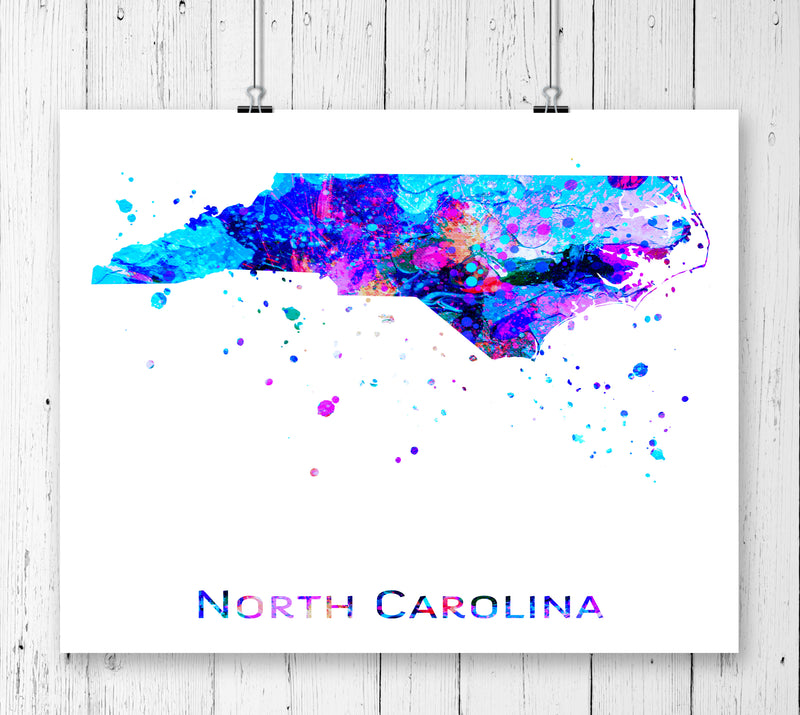 North Carolina Map Art Print - Unframed - Zuzi's