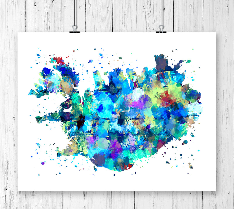 Iceland Map Art Print - Unframed - Zuzi's