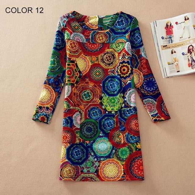 Long Sleeve Flower Print Dress Multiple Designs - Zuzi's