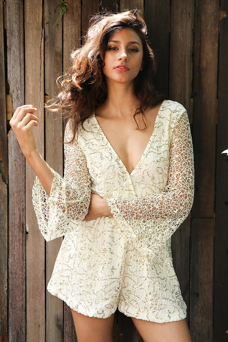Lace sequin long flare sleeve jumpsuit romper - Zuzi's