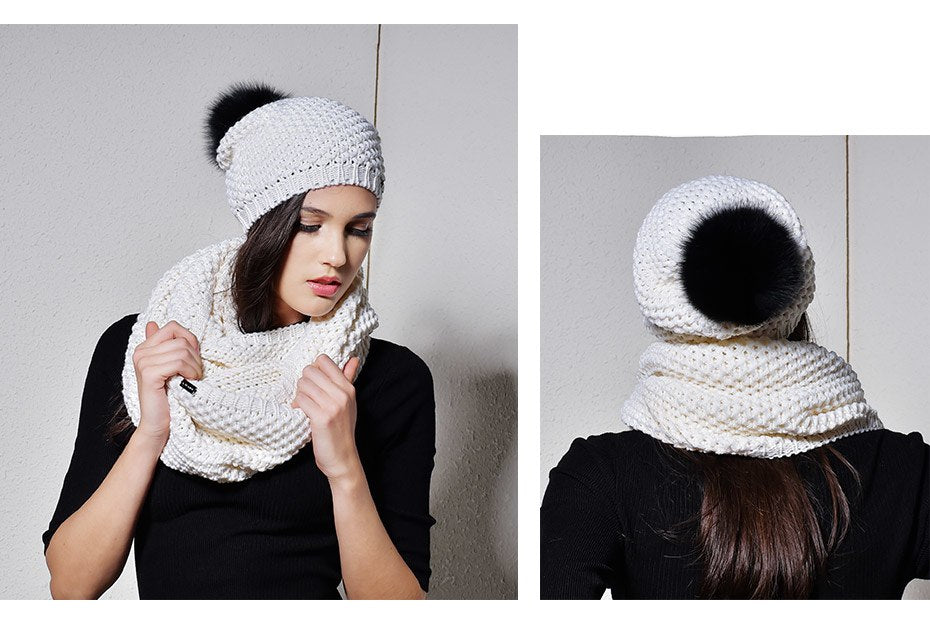 Woman Knitted Beanie Hat and Infinity Scarf Set Real Fox Fur Pom Pom Multiple Colors - Zuzi's
