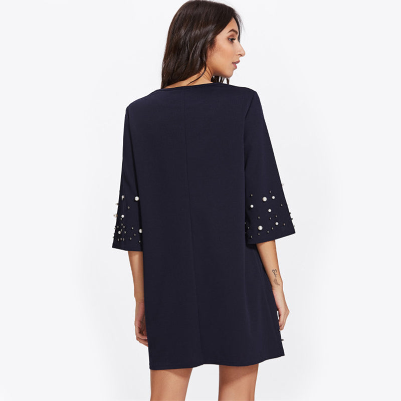 Pearl Beading Tunic Dress - Zuzi's