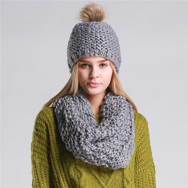 Knitted Hat  and Collar Set Multiple Colors - Zuzi's