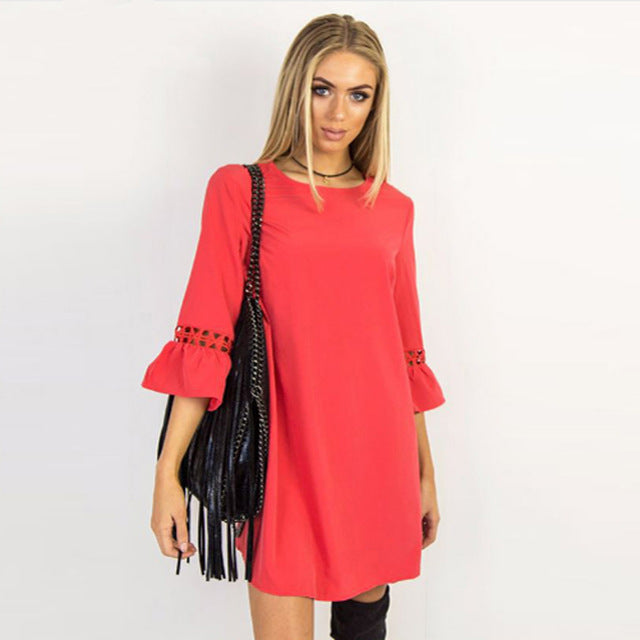 Flare Three Quarter Sleeve Lace Patchwork Dress Multiple Colors - Zuzi's