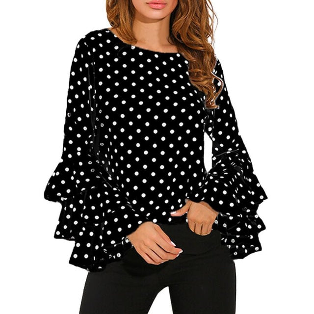 Fashion Women's Bell Sleeve Loose Polka Dot  Blouse - Zuzi's