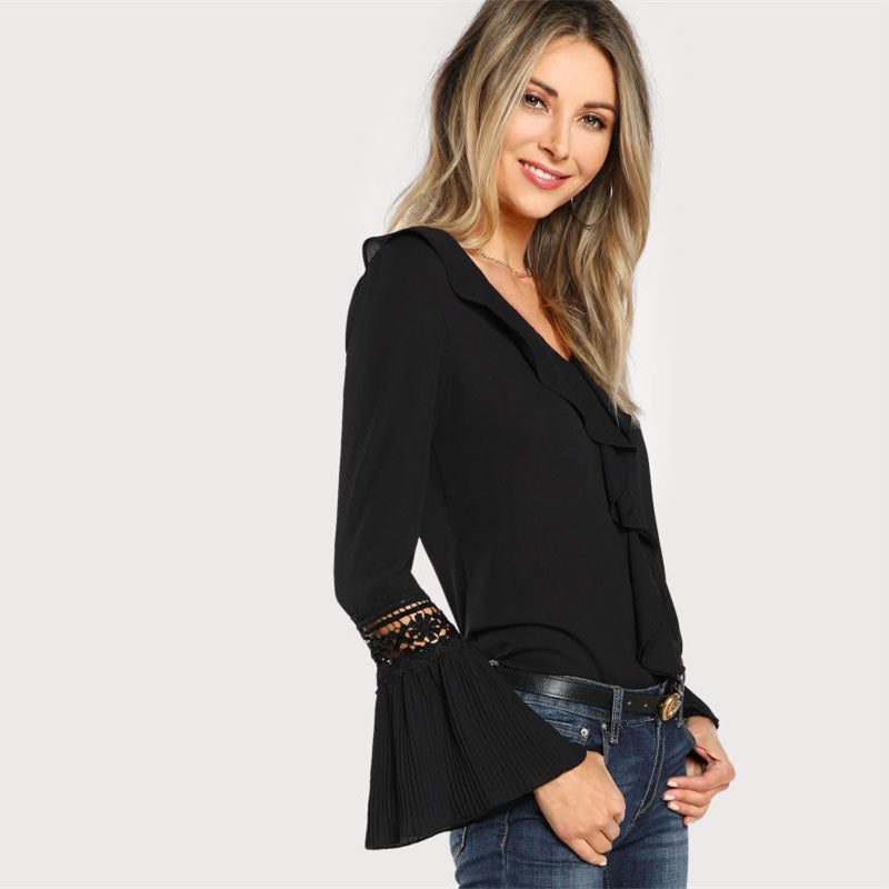 Black Ruffle Neck Lace Insert Blouse - Zuzi's