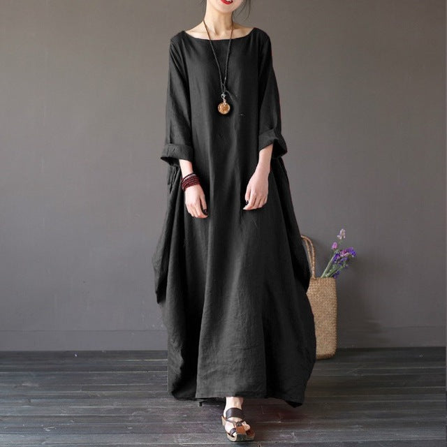 Crew-neck 3/4 Batwing Sleeve Maxi Dress Multiple Colors - Zuzi's