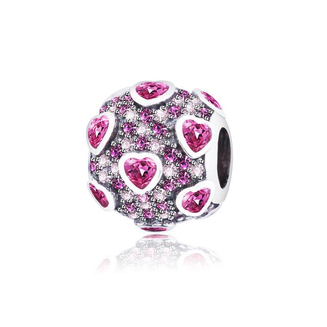 .925 Sterling Silver Pink Red Heart Charm Bead Fit Original Pandora Charm Bracelet - Zuzi's
