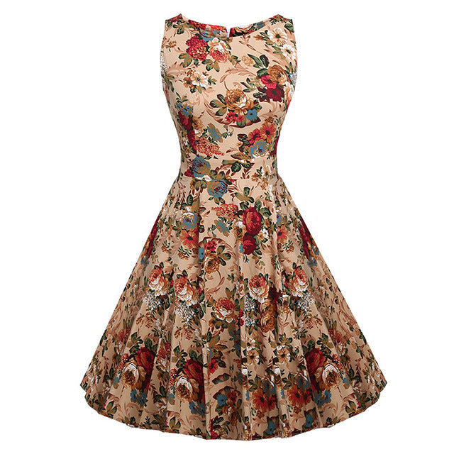 Floral Print Sleeveless Dress Multiple Colors - Zuzi's