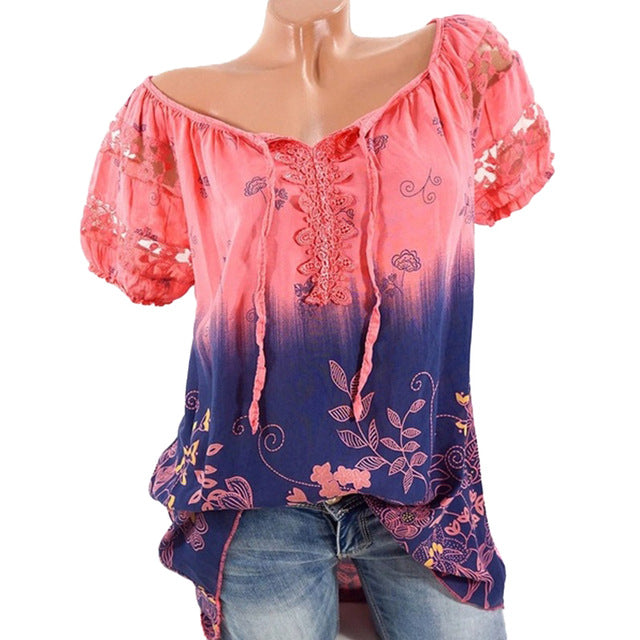 Floral Tie Lace Up Women Blouse - Zuzi's