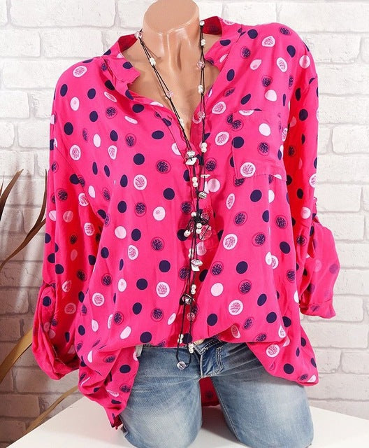 Adjustable Long Sleeve Polka Dot Print Blouse - Zuzi's