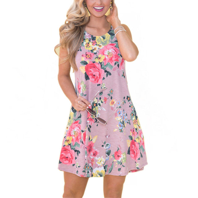 Sleeveless Pockets Mini  Dress Multiple Designs - Zuzi's