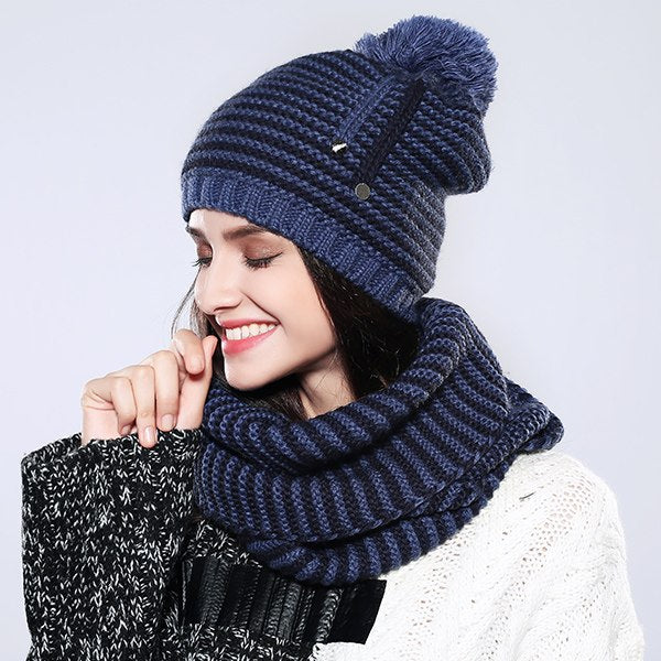 Knitted Hat And Scarf Set Multiple Colors - Zuzi's