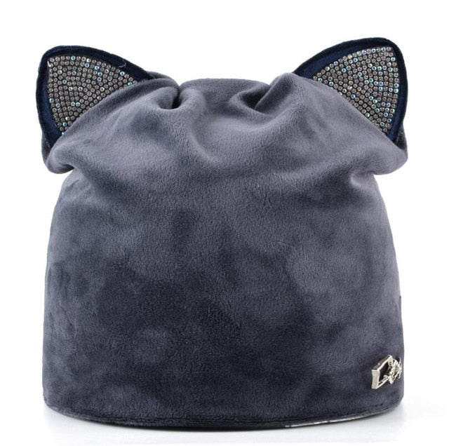 Women's Beanies Cat Velvet Hat With  Rhinestone Multiple Colors - Zuzi's
