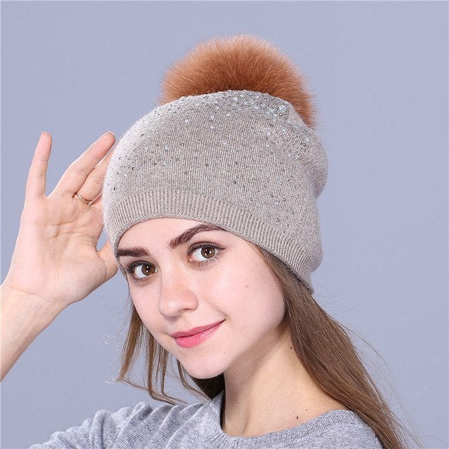 Knitted Winter Hat with Fox, Mink Fur Pom Pom and Shining Rhinestone Multiple Colors - Zuzi's