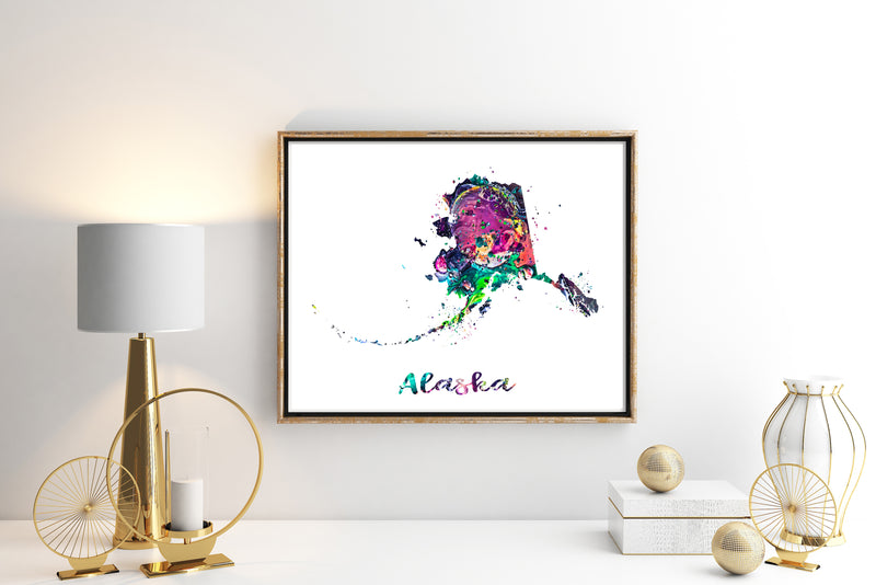 Alaska Map Watercolor Art Print - Unframed - Zuzi's
