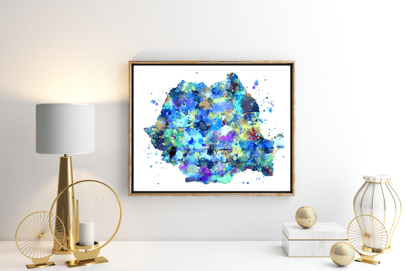 Romania Map Art Print - Unframed - Zuzi's