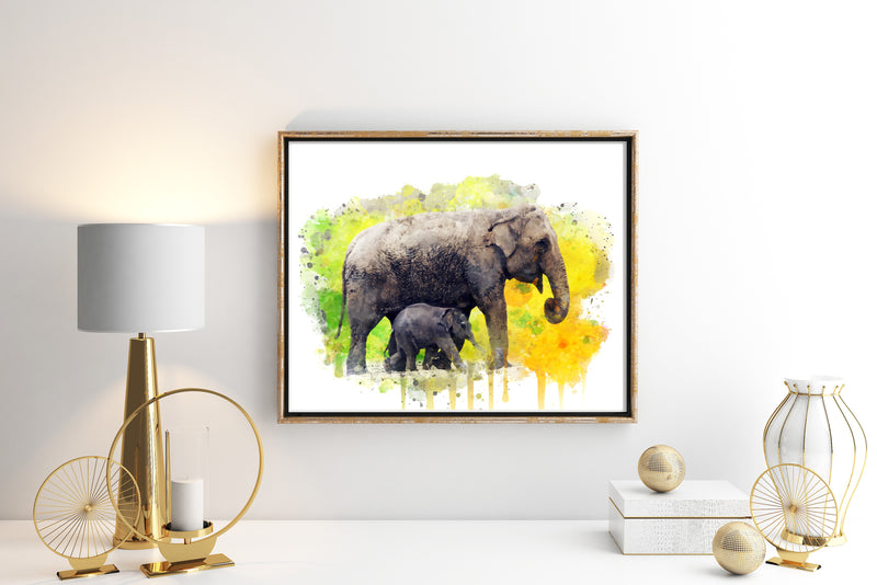 Elephant and Baby Elephant  Art Print - Unframed - Zuzi's