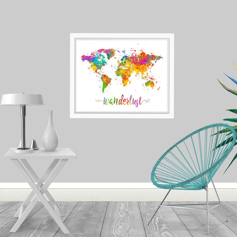 Wanderlust World Map Art Print - Unframed - Zuzi's