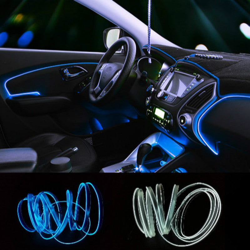 Universal 2.3 mm 3M 10 Colors Car Styling Flexible Neon Light EL Wire Rope Car Decoration Strip with Controller Free shipping