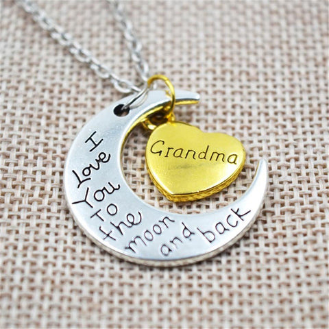 "Beautiful ""I Love You To The Moon And Back"" Silver Necklace Gift for your Grandkids - keeps you close to them always."