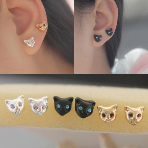 Silver, Black or Gold Cats Head Earrings