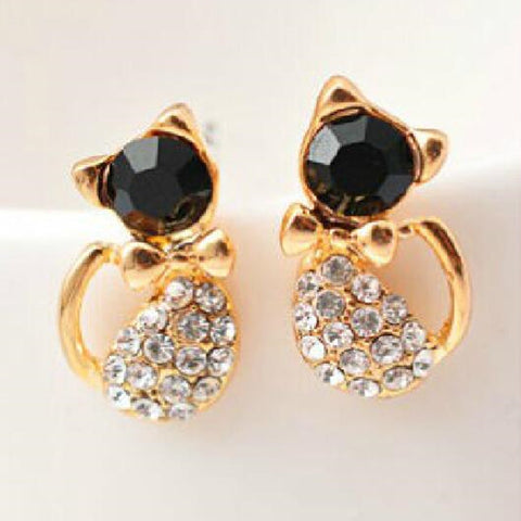 Antique Gold Plated Cat Stud Earrings For Women
