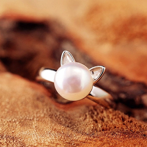 Cute Cat Imitation Pearl Rings