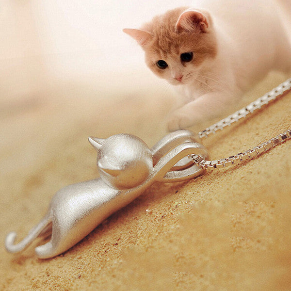 Cute Kitty Cat Charm Pendant Necklace