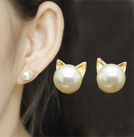 Gold Alloy Faux Pearl Cat Head Stud Earrings