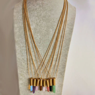 Brass Bullet Crystal Pendant Necklace