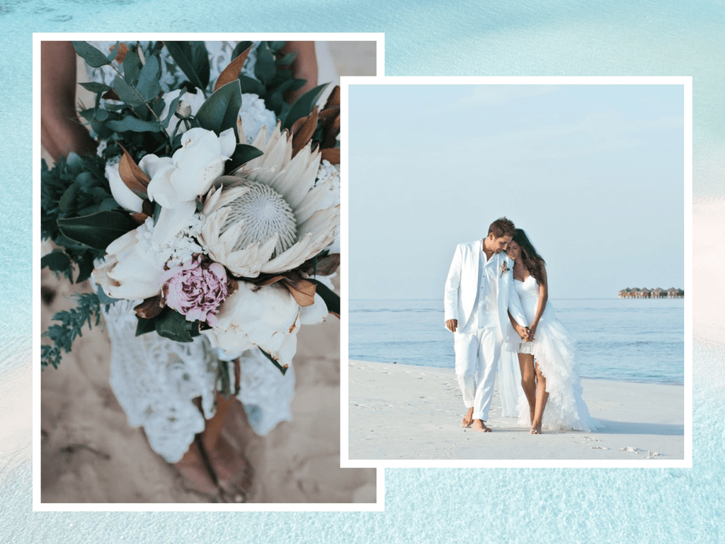 all white linen beach wedding