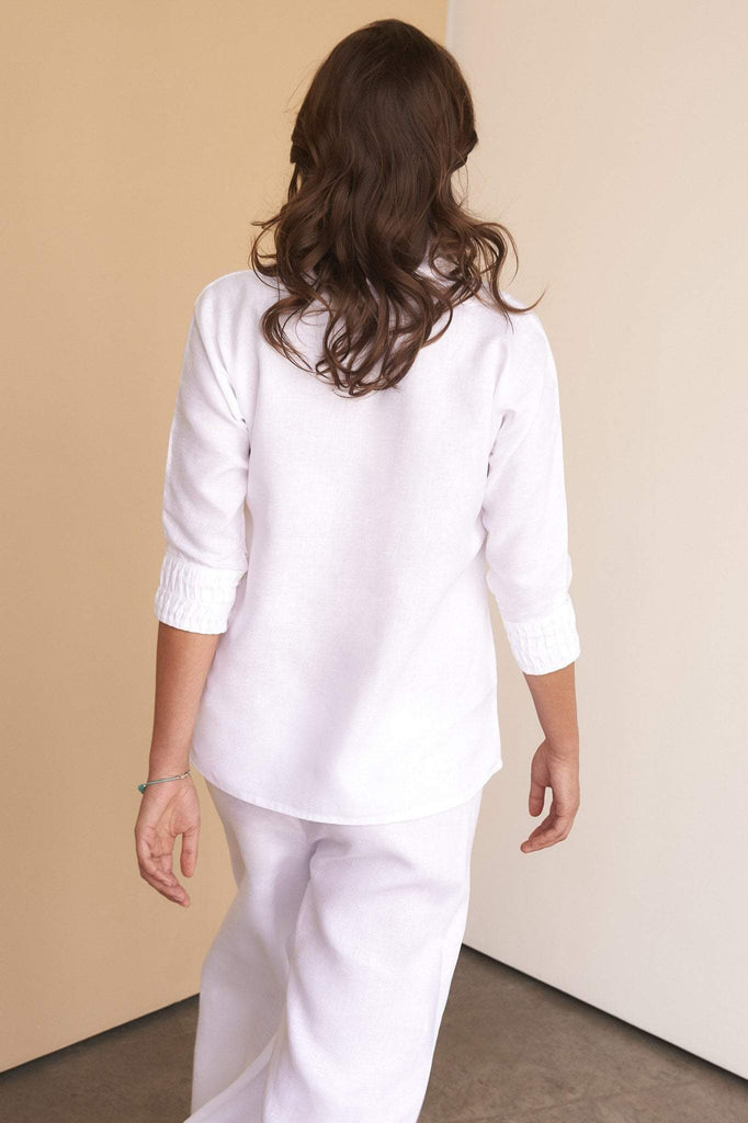 ladies white linen long length trousers