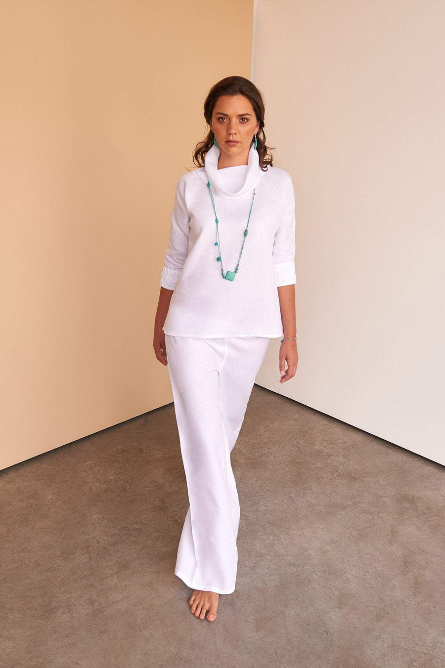 full length ladies white linen pants trousers