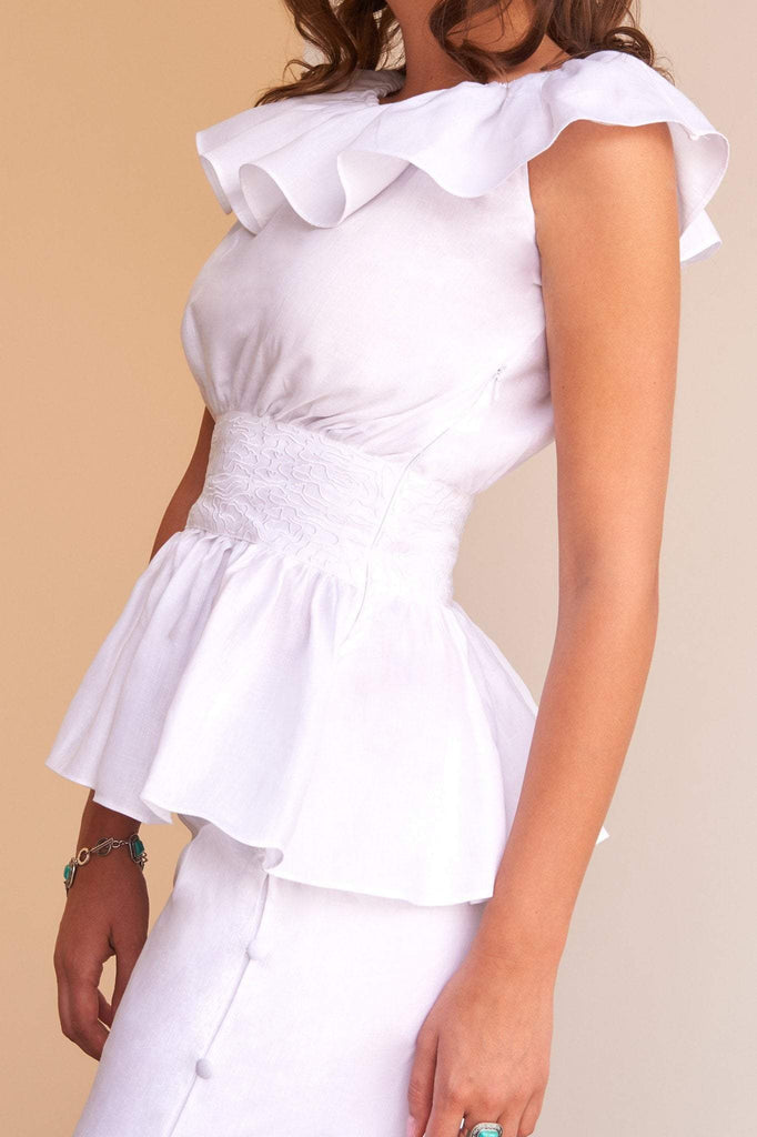 ladies white linen embroidery top