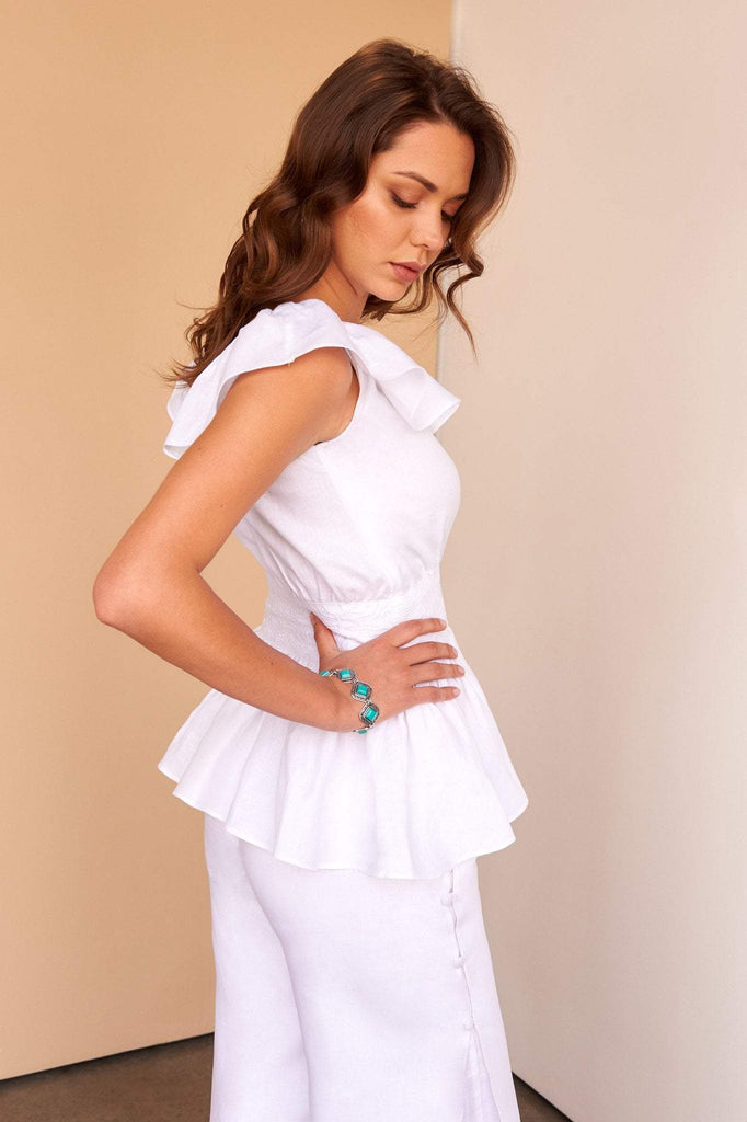 ladies white linen off shoulder embroidery top