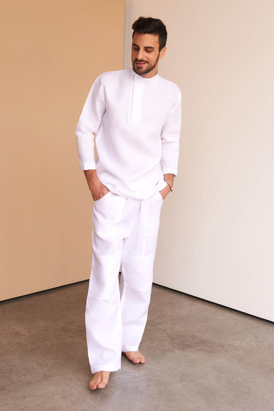 Men's Shirt White Linen Wear Clothing Fashion Luxury Yacht Russian