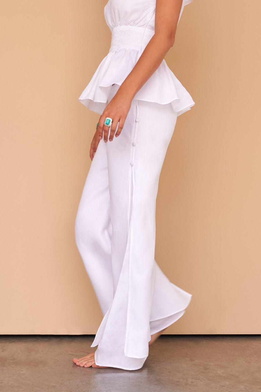 ladies white Italian Linen trousers