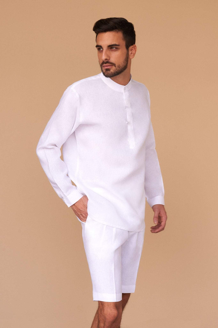 Men's Shirt White Linen Wear Clothing Fashion Luxury