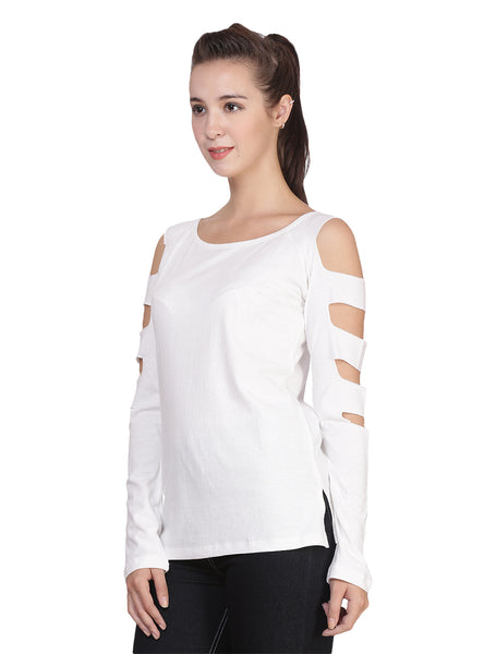 9041 WOMEN'S T-SHIRT TOP WITH SLEEVE CUTS: White