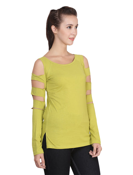 9041 WOMEN'S T-SHIRT TOP WITH SLEEVE CUTS: Green