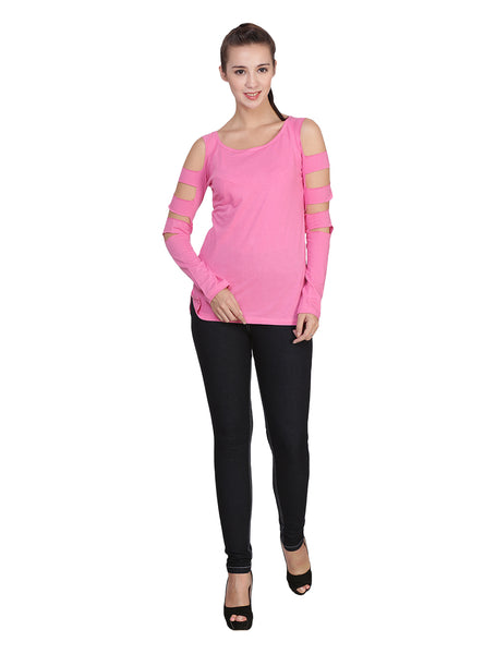 9041 WOMEN'S T-SHIRT TOP WITH SLEEVE CUTS : Dark Pink