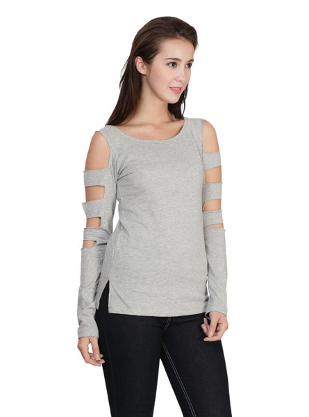 9041 WOMEN'S T-SHIRT TOP WITH SLEEVE CUTS: Grey