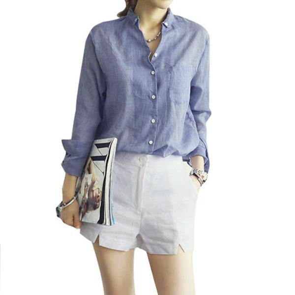 9065 Loose Summer Shirts in Chambray