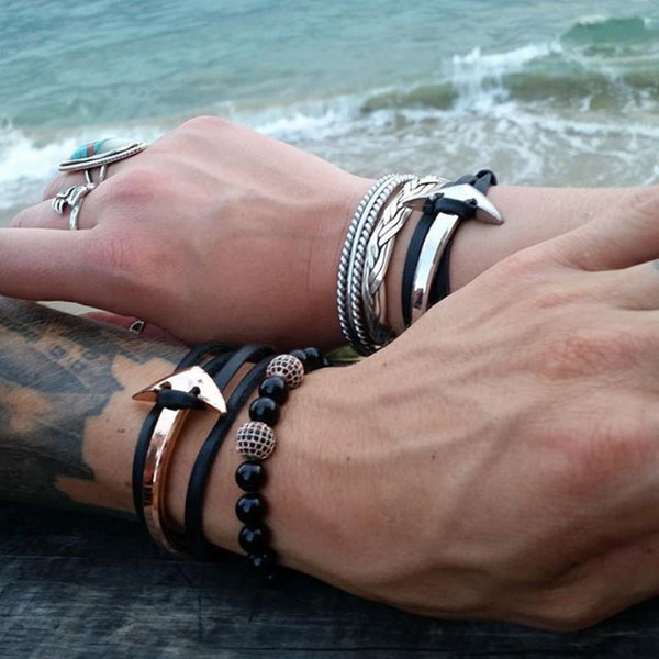 Layered Anchor Leather Bracelet