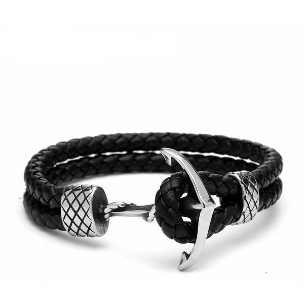 Fish Net Anchor Leather Bracelet - Strauss Heritage necklace